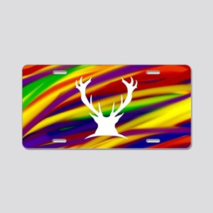 Buck gay rainbow art Aluminum License Plate