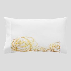 Vintage Roses Floral Gold Decorative Pillow Case
