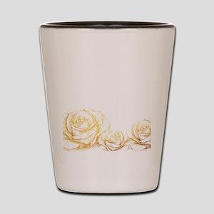 Vintage Roses Floral Gold Decorative Shot Glass
