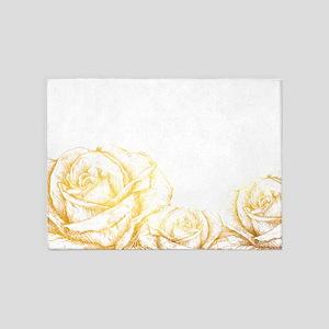 Vintage Roses Floral Gold Decorativ 5'x7'Area Rug