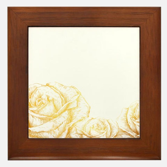 Vintage Roses Floral Gold Decorative Framed Tile