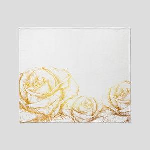 Vintage Roses Floral Gold Decorative Throw Blanket