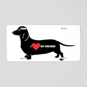 dachshund, I love my weiner Aluminum License Plate
