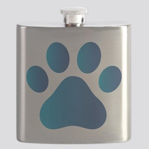 Blue Paw Print Flask