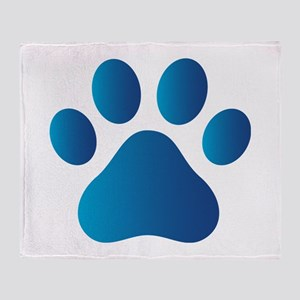 Blue Paw Print Throw Blanket