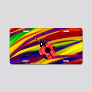 Gay lady bug rainbow art Aluminum License Plate