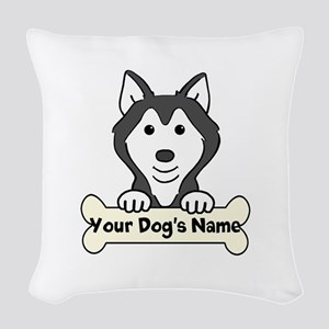 Personalized Husky Woven Throw Pillow