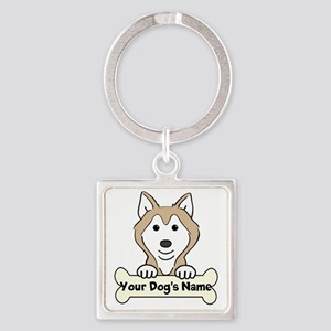 Personalized Husky Square Keychain