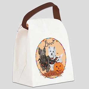 Scottie Westie Halloween Canvas Lunch Bag