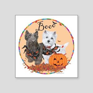 """Scottie Westie Halloween Square Sticker 3"""" x 3"""""""