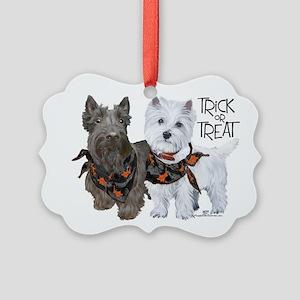 Scottie Westie Halloween Picture Ornament