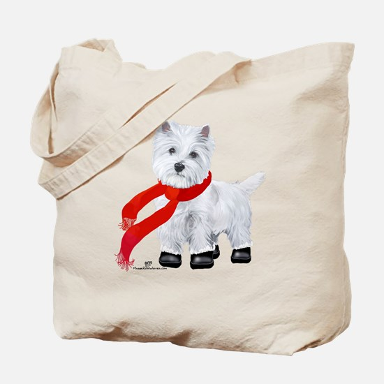 Westie Wintertime Tote Bag