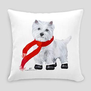 Westie Wintertime Everyday Pillow