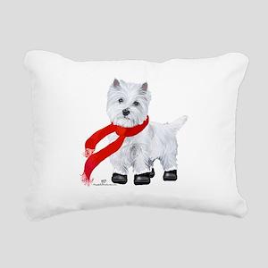 Westie Wintertime Rectangular Canvas Pillow