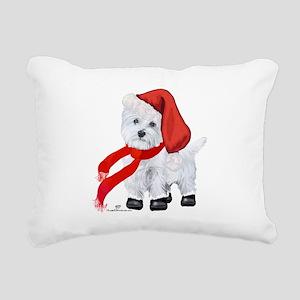 Westie Santa Claus Rectangular Canvas Pillow