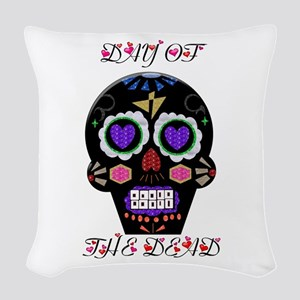 Day Of The Dead - Hearts Woven Throw Pillow