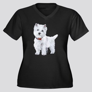 West Highlan Women's Plus Size V-Neck Dark T-Shirt