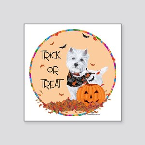 "Westie Trick or Treat Square Sticker 3"" x 3"""
