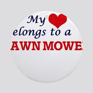 My heart belongs to a Lawn Mower Round Ornament