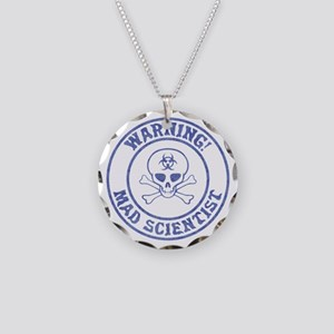 Mad Scientist Warning Necklace Circle Charm