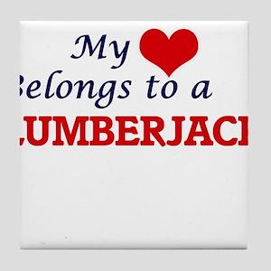 My heart belongs to a Lumberjack Tile Coaster