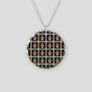 HAMSA PLAID Necklace Circle Charm