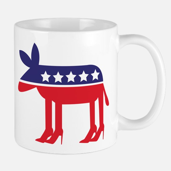 Democratic Donkey on Heels Mugs