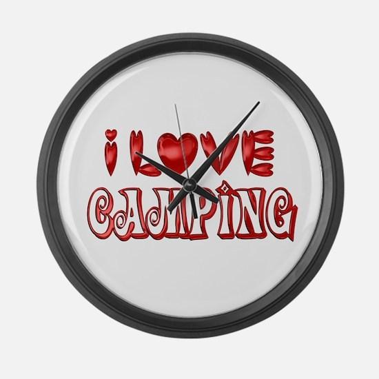 I Love Camping Large Wall Clock
