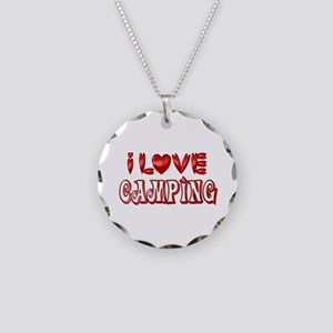 I Love Camping Necklace Circle Charm