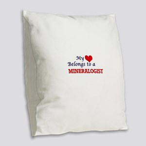 My heart belongs to a Mineralo Burlap Throw Pillow