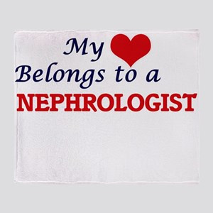 My heart belongs to a Nephrologist Throw Blanket