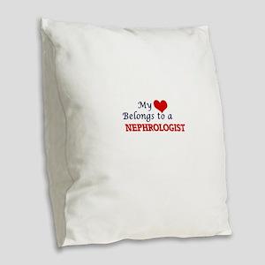 My heart belongs to a Nephrolo Burlap Throw Pillow