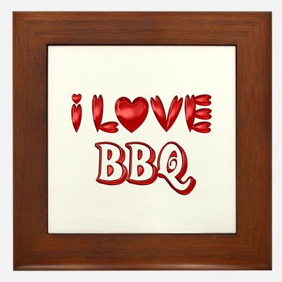 I Love BBQ Framed Tile