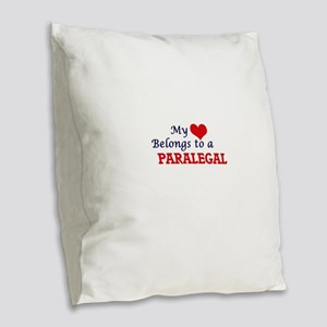 My heart belongs to a Paralega Burlap Throw Pillow