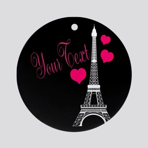 Paris France Eiffel Tower Round Ornament