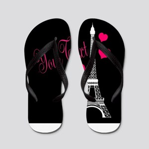 Paris France Eiffel Tower Flip Flops