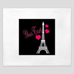 Paris France Eiffel Tower King Duvet
