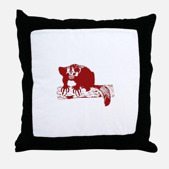 Red Lemur Throw Pillow