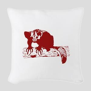 Red Lemur Woven Throw Pillow