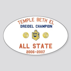 Dreidel Champion Oval Sticker