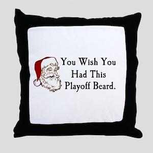 Santa's Playoff Beard Throw Pillow