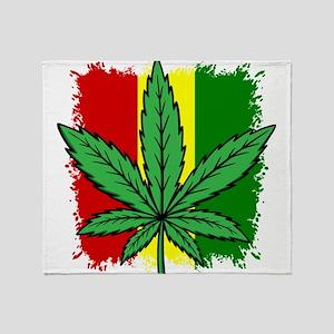 Rasta Flag...marijuana Throw Blanket
