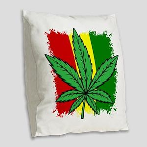 Rasta Flag...marijuana Burlap Throw Pillow