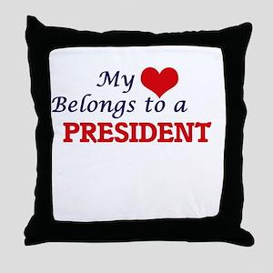 My heart belongs to a President Throw Pillow