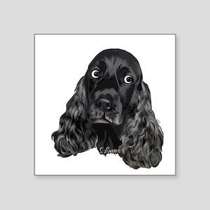 Cute Black Cocker Spaniel Portrait Print Sticker