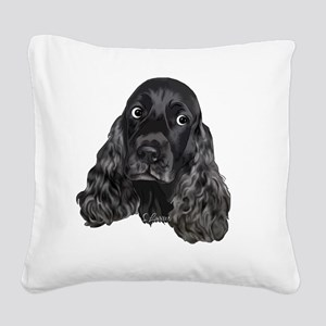 Cute Black Cocker Spaniel Por Square Canvas Pillow