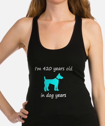 60 Dog Years Lt Blue Dog 1 Racerback Tank Top
