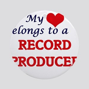 My heart belongs to a Record Produc Round Ornament