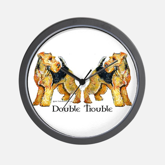 Airedale Terrier Trouble Wall Clock