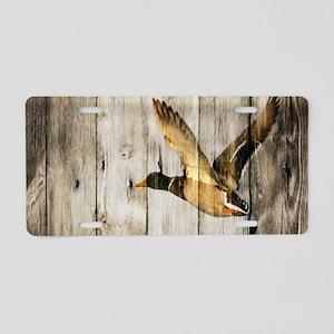rustic barnwood wild duck Aluminum License Plate